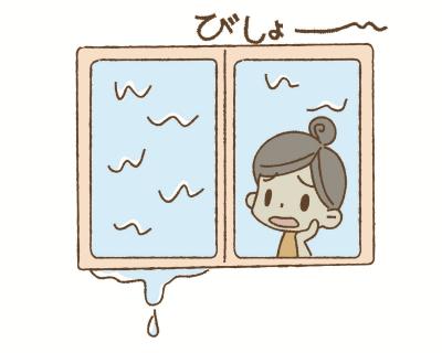 結露でびしょ濡れ