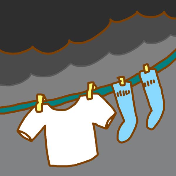 洗濯物を夜に外干し