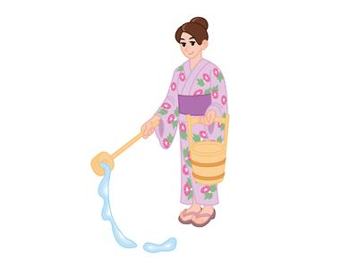 打ち水をする女性